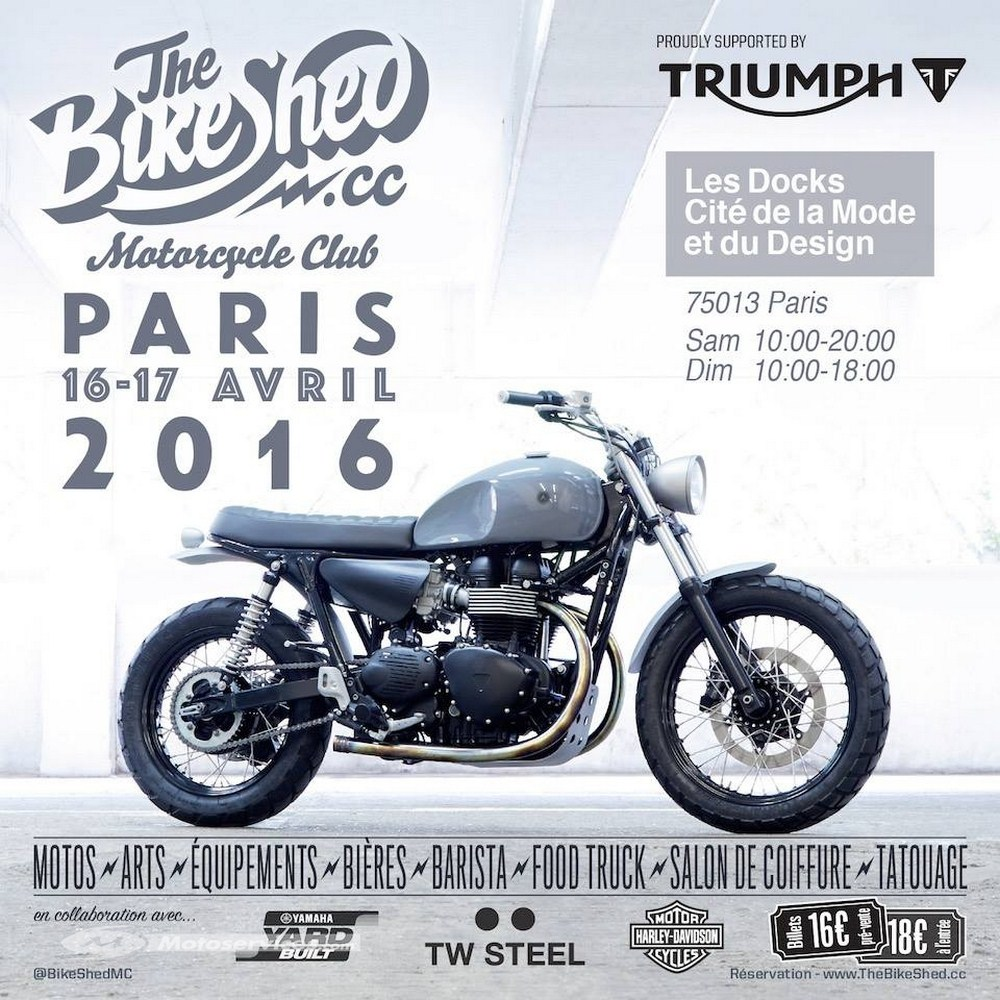 The Bike Shed, Paris 2016 : rdv les 16 et 17 avril