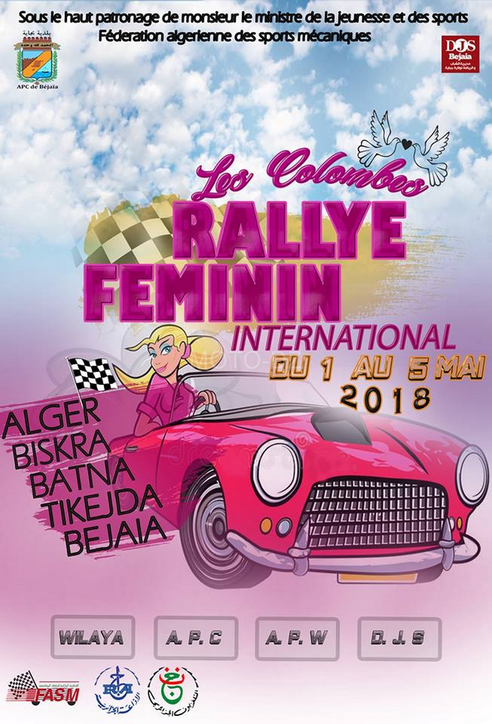"Rallye International Féminin ""Les Colombes"" : 1 au 5 mai 2018"