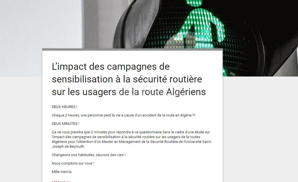 Sondage : impact des campagnes de sensibilisation à la sécurité routière