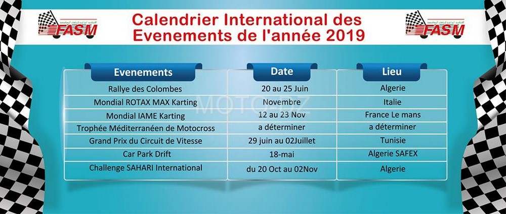 "FASM : publication du calendrier ""Programme National & International"" 2019"
