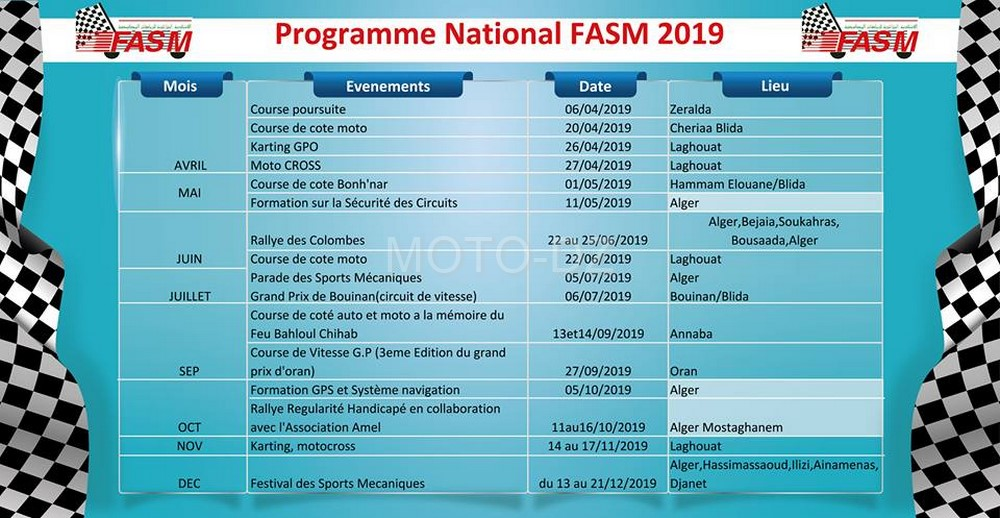"FASM : publication du calendrier ""Programme National & International"" 2019"
