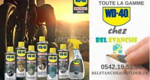 """Gamme moto """"WD-40"""" disponible chez le distributeur """"Bel Étanche"""""""
