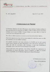 Fédération Algérienne des Sports Mécaniques : le Président remet les pendules à l'heure
