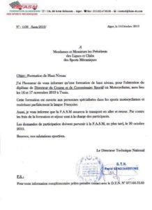 """FASM / Moto : inscription aux formations """"Directeur de course """" et """"Commissaire sportif"""""""