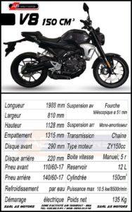 """AS MOTORS lance le """"V8"""", roadster """"néo-retro"""" de 150 cm3"""