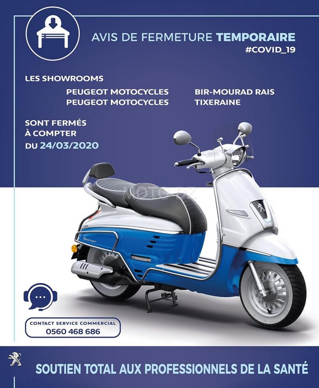 Peugeot Motocycles Algérie : Fermeture des showrooms pour cause de COVID-19