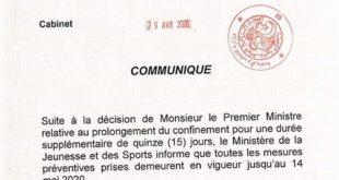 FASM : Ministère de la Jeunesse et des Sports, prolongation des mesures ...